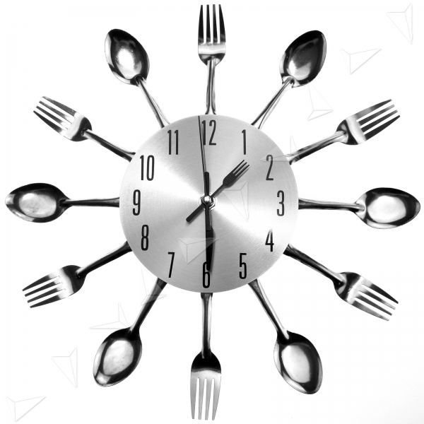 ... Sliver Cutlery Kitchen Utensil Wall Clock Spoon Fork Clock New | eBay