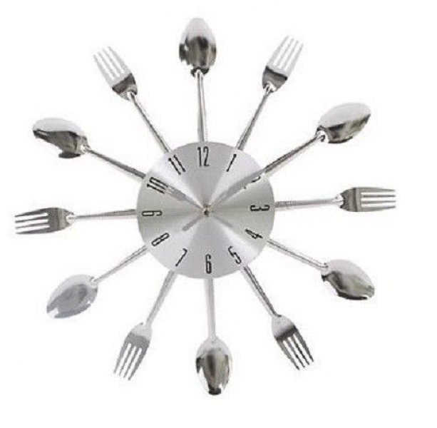 Kitchen Cutlery 25cm Wall Clock Metal Spoon Fork Home Utensil ...