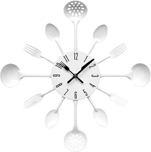 Kitchen-Cutlery-Design-Wall-Clock-Wall-Mounted-Red-Black-And-White ...