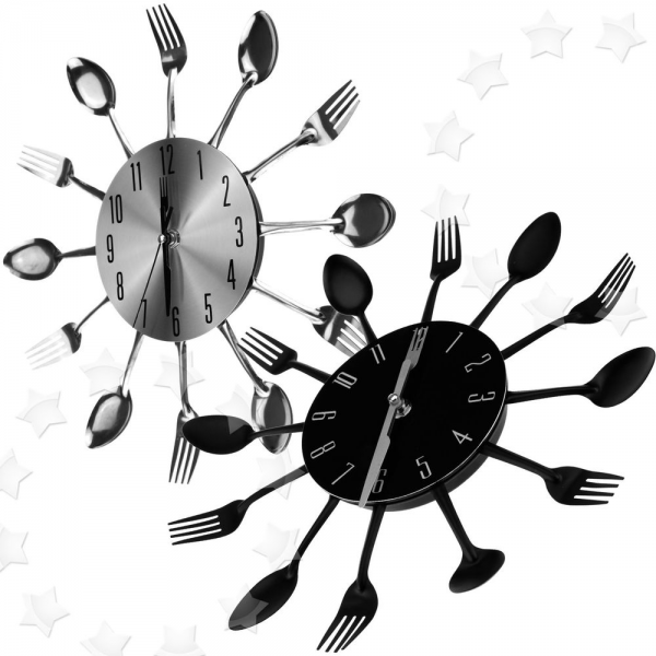 ... Sliver Black Cutlery Kitchen Wall Clock Spoon Fork Clock New | eBay