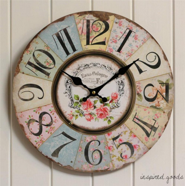 French Vintage Floral Kitchen Wall Clock Wooden Shabby Chic Style ...