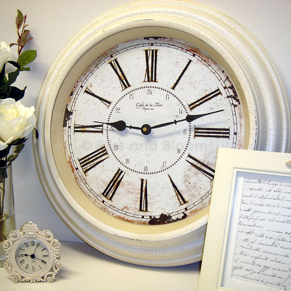 Large Cream Kitchen Clock: French style large cream clock Bliss and ...