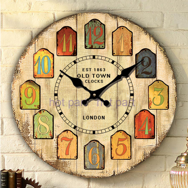New Large French Vintage Kitchen Wall Clock Wooden Shabby Chic Style ...