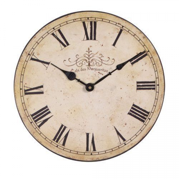 Cafe Des Marguerites Wall Clock ~ Shabby Chic Antiqued Cream Vintage ...