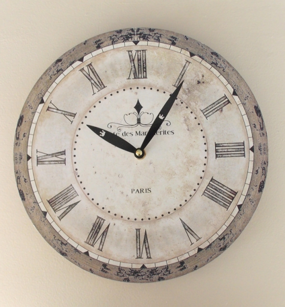 French Vintage Rustic Wood Style Wall Clock -CAFE DES MARGUERITES