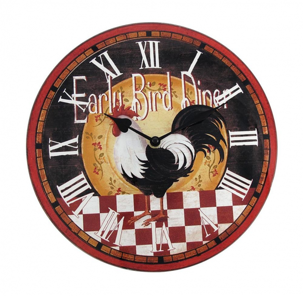 ... Diameter `Early Bird Diner` Rooster Glass Kitchen Wall Clock | eBay