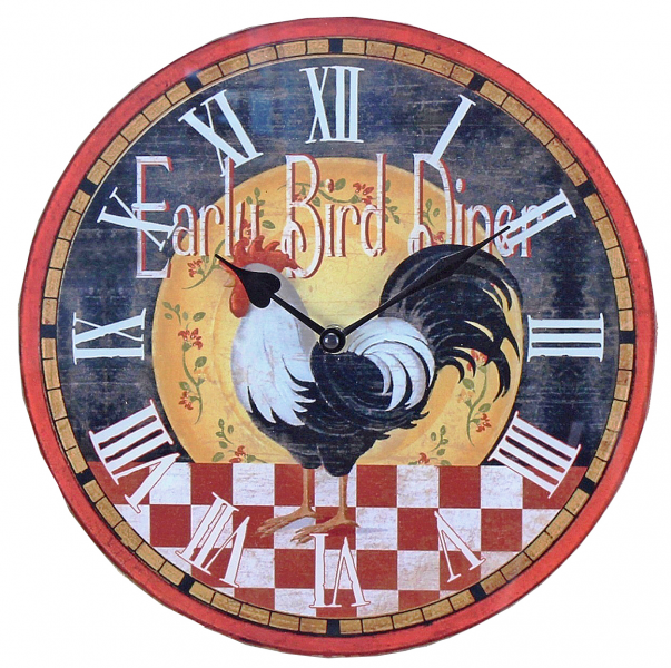 Rooster Early Bird Diner Red Checks 11.5 Inch Glass Kitchen Wall Clock