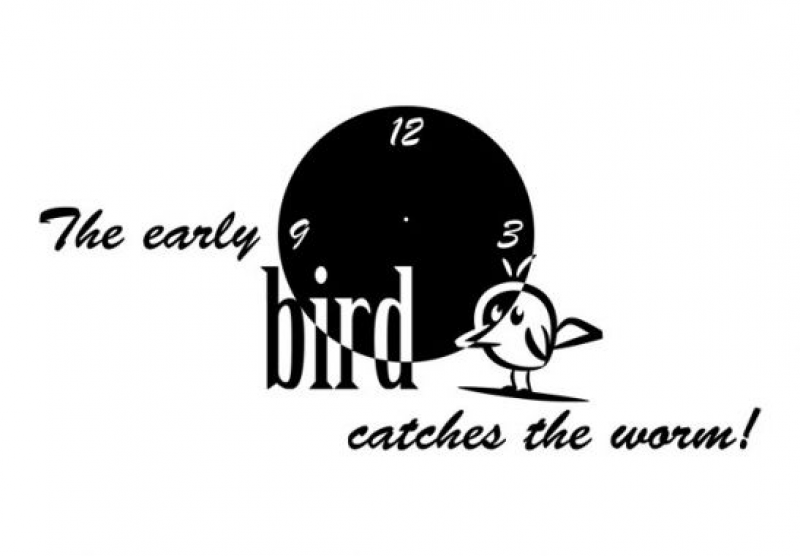 Stickers + Clocks - The early bird... Wall Clock Wall sticker