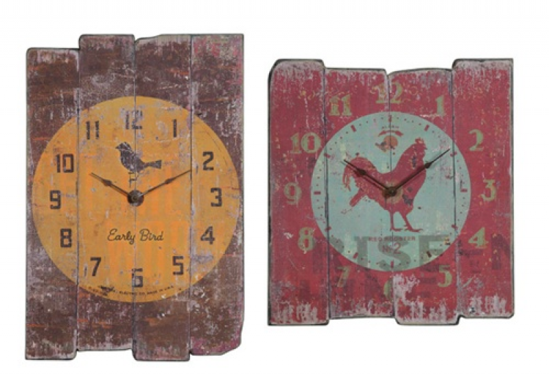 Vintage Look Wood Panel Country Kitchen Wall Clock
