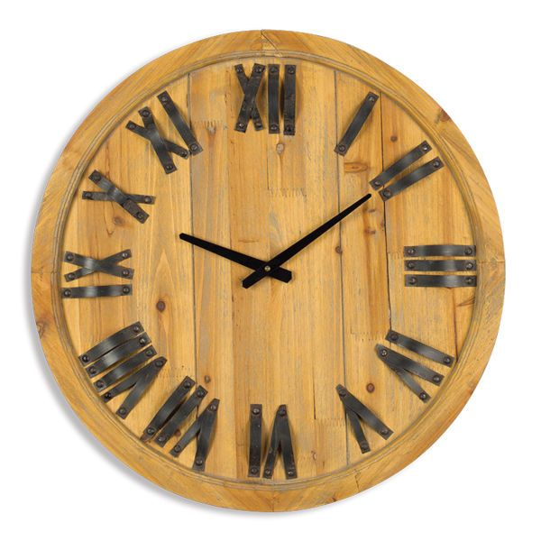 Wood Wine Barrel Top Wall Clock w/ 3-D Metal Roman Numeral Letters $99 ...