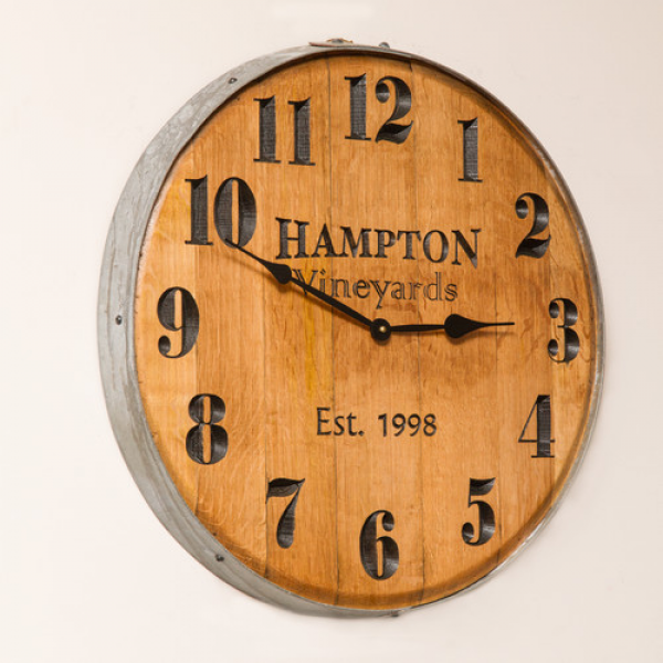 Napa East Collection 22 Wine Barrel Personalized Clock