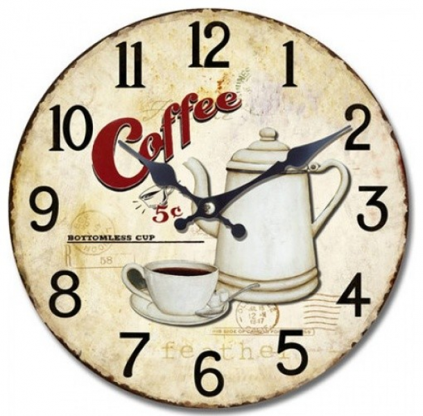 Wall Clock with bottomless coffee print - Contemporary - Wall Clocks ...