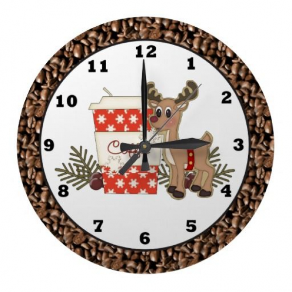 Christmas Reindeer coffee wall clock