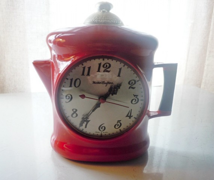 Vintage Master Crafters Coffee Pot Wall Clock with Light 1950's