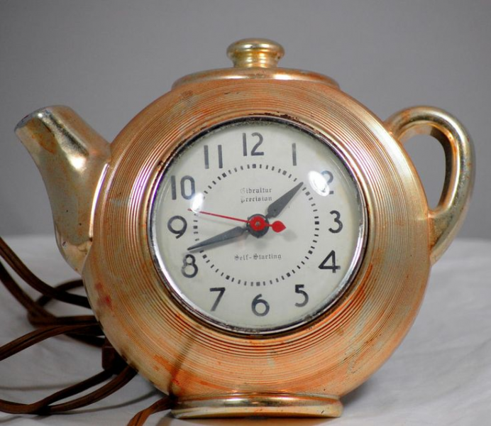 Vintage Gibraltar Electric Coffee Pot Wall Clock 1950s
