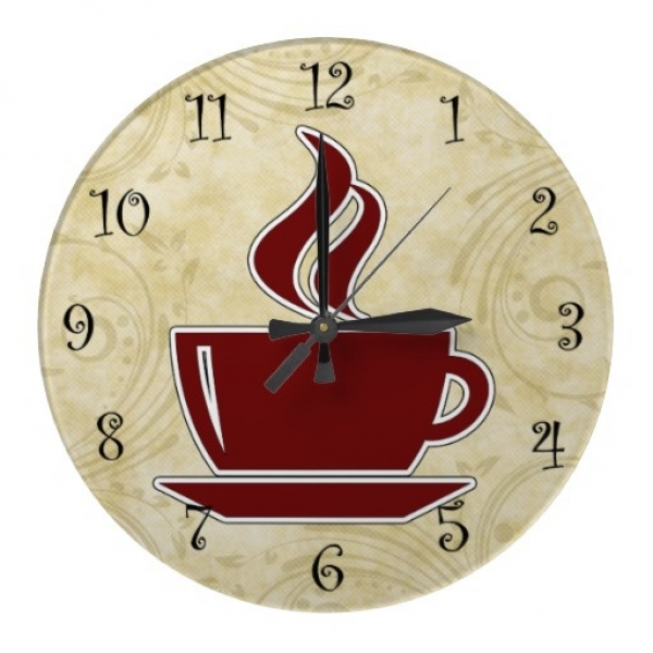 Coffee lovers kitchen wall decor clock with image of a coffee cup and ...