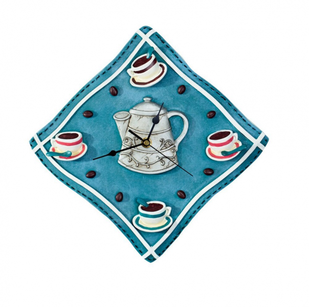 ... Coffee-Wall-Decoration-Resin-Silent-Fabric-Shape-Kitchen-Wall-Clock