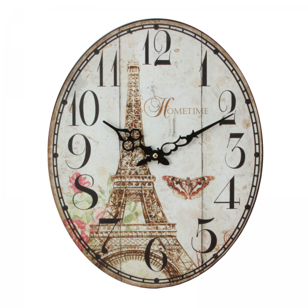 ... Wall Clocks - 40cm x 32cm Metal Kitchen Wall Clock - Paris/Eiffel