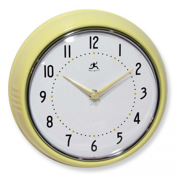 yellow retro metal wall clock yellow retro metal wall clock arabic ...