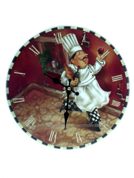 ... Specials Fat French Chef Wine Wall Clock Kitchen Bistro Decor EB4ND047