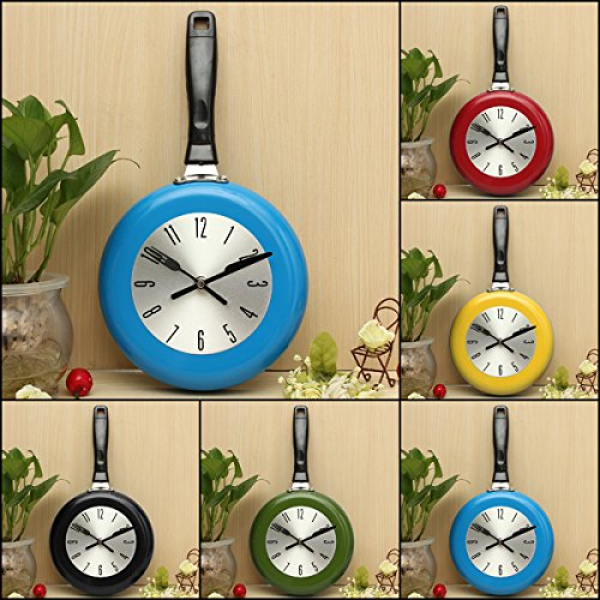 Flying Pan Wall Clock Kitchen Home Quartz Hanging Design (Red)