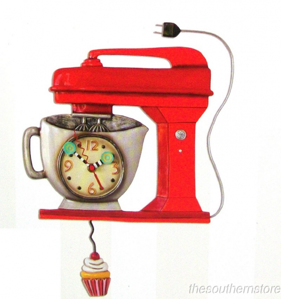 ... Mixer Red Wall Clock Allen Designs Kitchen Whimsical Wall Clock | eBay