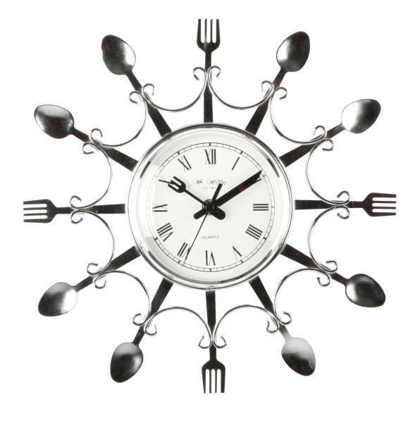 ... Clocks - Novelty Design Chrome Colour Fork & Spoon Kitchen Wall Clock