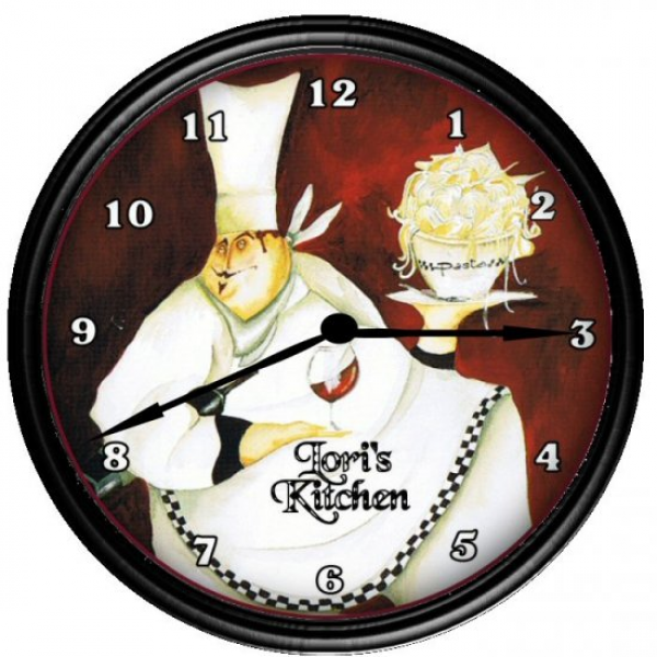 Personalized Fat Chef French Country Bistro Kitchen Wall Clock
