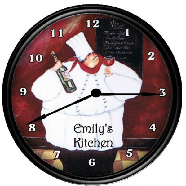 Personalized Fat Chef Bistro Kitchen Decor Clock Gift
