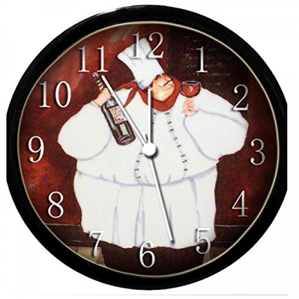 wine wall clock kitchen bistro decor fat chef kitchen wall clock ...