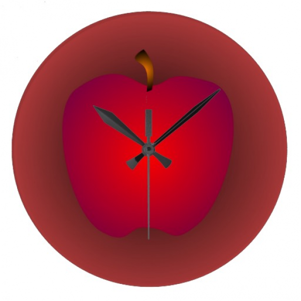 Big Red Apple Wall Clock | Zazzle