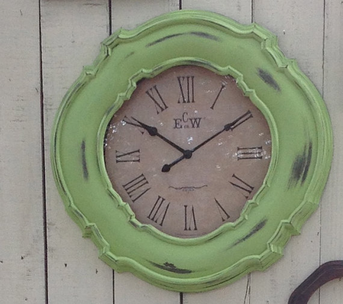 Time's Up Large Apple Green Wall Clock 23 by ReFeatherYourNest