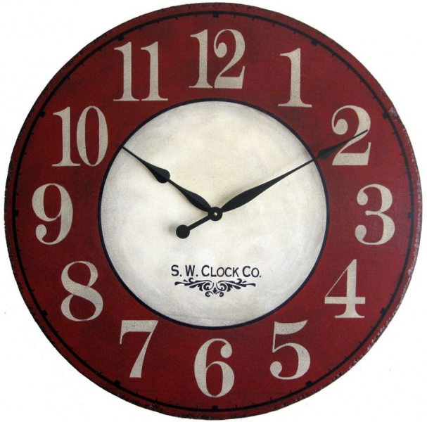 Devonshire Large Wall Clock Antique Style Red Cream French Country big ...