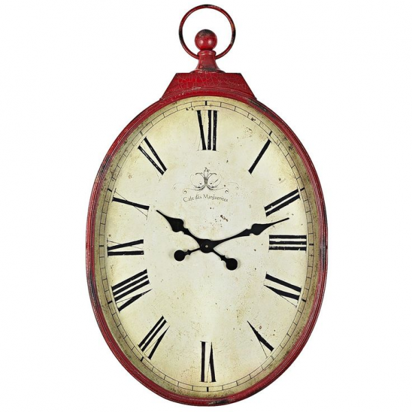 Red Antiqued Wall Clock -- oversized pocket watch design -- sale $103 ...