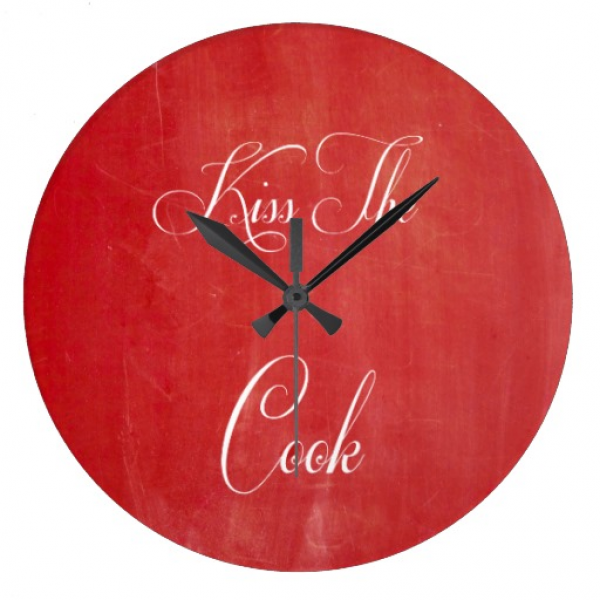 Kiss The Cook Red Chalkboard Kitchen Wall Clock | Zazzle