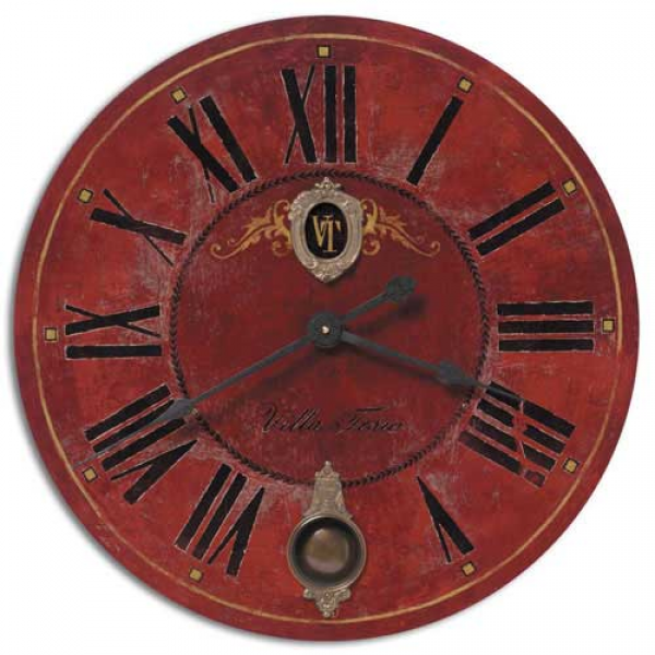 Villa Tesio Old World Clock in Rustic Red Classic Italian Villa Style