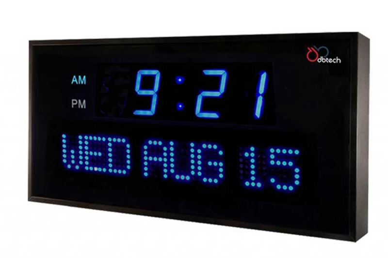 DBTech Oversized Digital Blue LED Calendar Electric Wall Clock