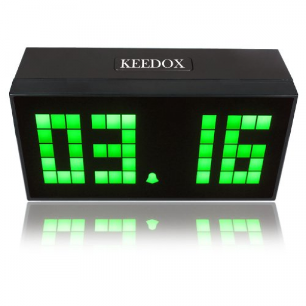 ... Digital Wall Desk Alarm Clock Calendar Time Temperature Clock–Green