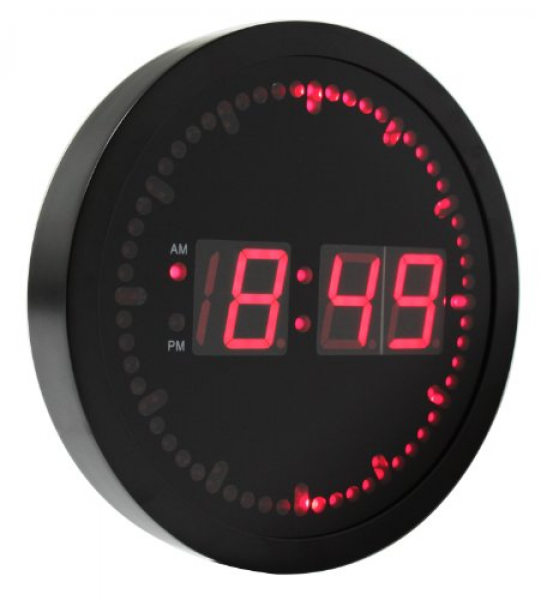 eHealthSource Big Digital LED Wall Clock with Circling LED second ...