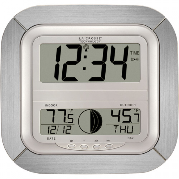La Crosse Technology Digital Atomic Wall Clock with Moon Phase, Silver