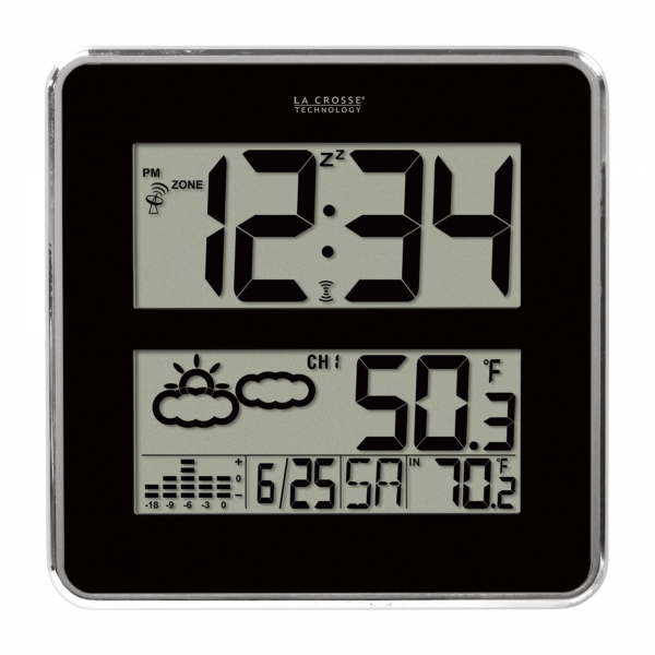LA CROSSE Digital Atomic Clock with Weather Forecast — 3in. Time ...