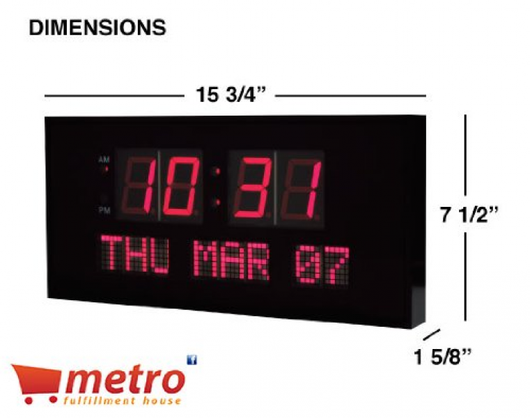 eHealthSource Digital LED Calendar Clock, 15 3/4″ Day and Date ...
