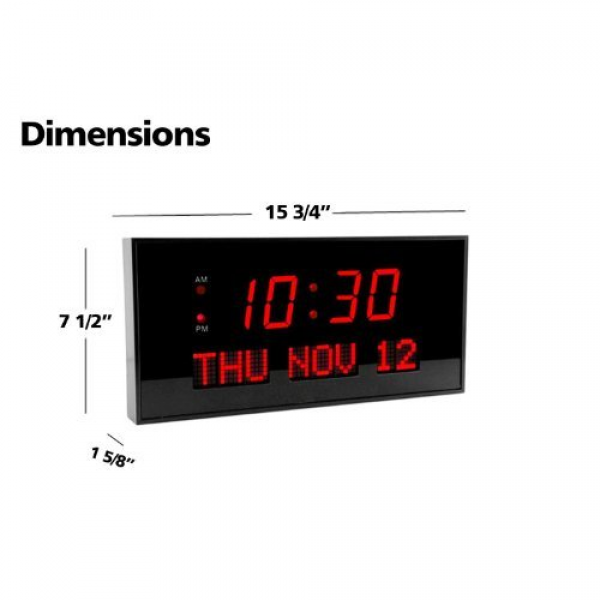 Big Digital Blue Led Calendar Clock With Day And Date - Shelf Or Wall ...