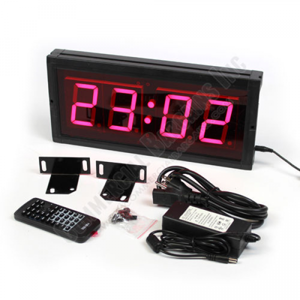 ... LED Digital Clock 3 Red Numbers Wall Mount Military Time Only HIT4-3R