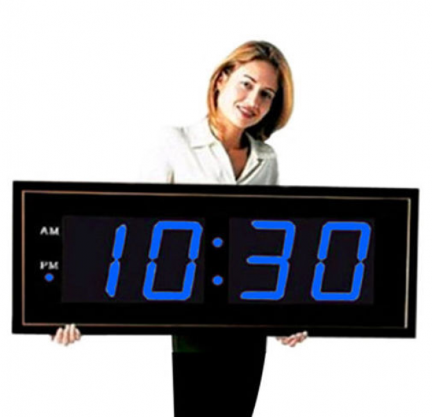 Oversized Digital Wall Clock 8 Inch Blue LED Display Large Clock ...