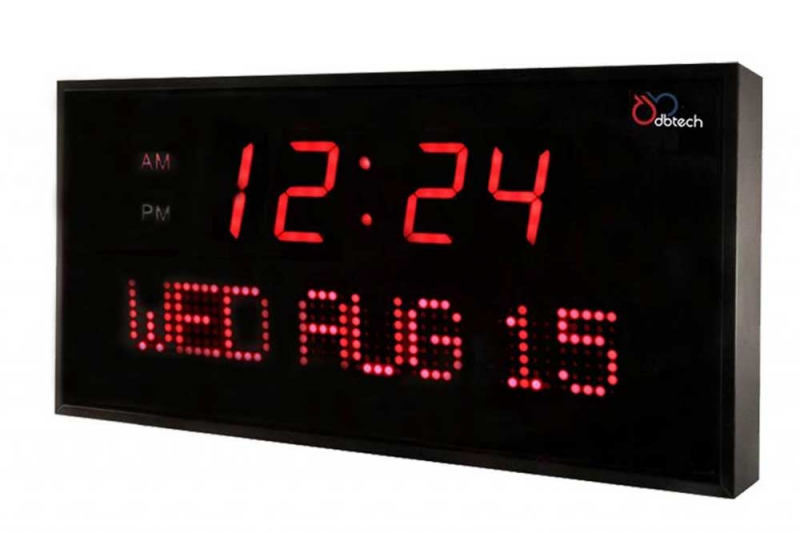 DBTech 12 inch Wall Mount Red Digital LED Clock with Calendar