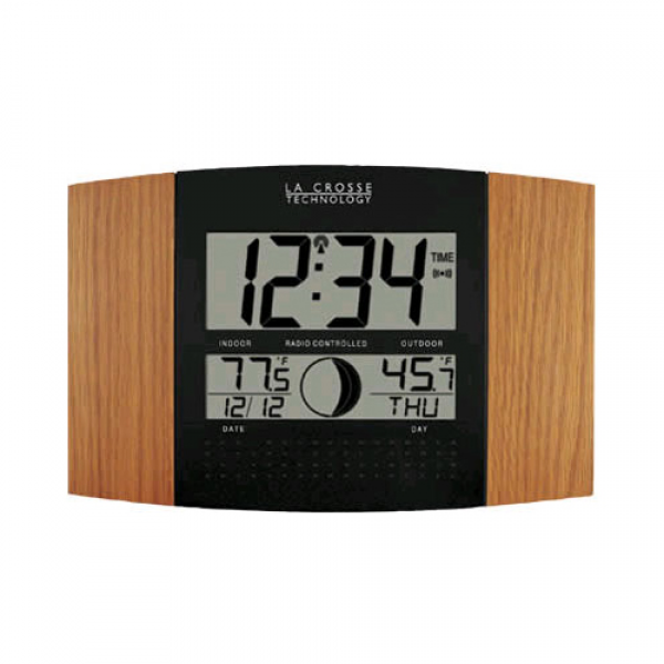 ... WS 8117U IT OAK Digital Wall Clock With Moon Phase OAK Black | eBay