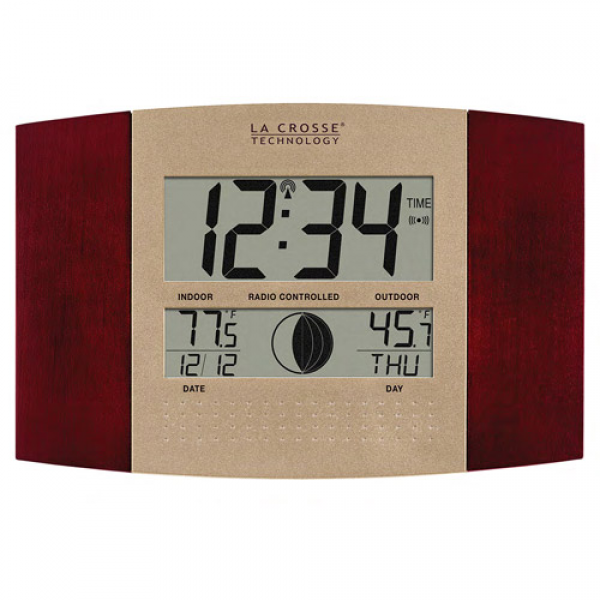 ... Atomic Digital Wall Clock with Moon Phase & Temperature, Cherry Red