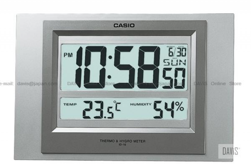 CASIO ID-16-8 digital auto calendar thermo hygrometer wall clock grey ...