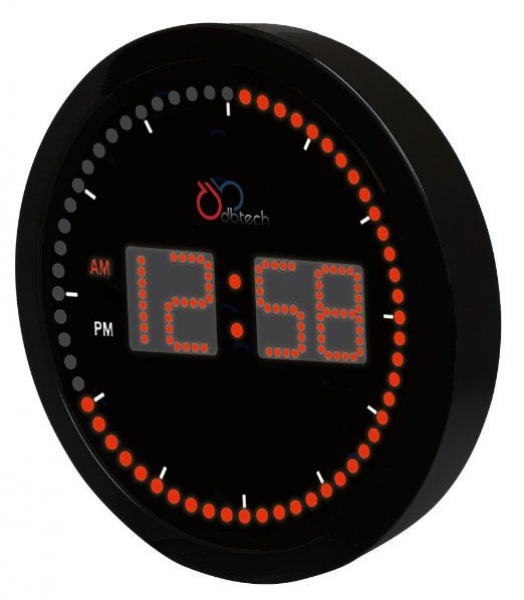 ... LED Clock with Circling LED second indicator - Round Shape (10 / Red